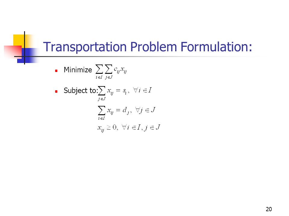 20 Transportation Problem Formulation: Minimize Subject to: