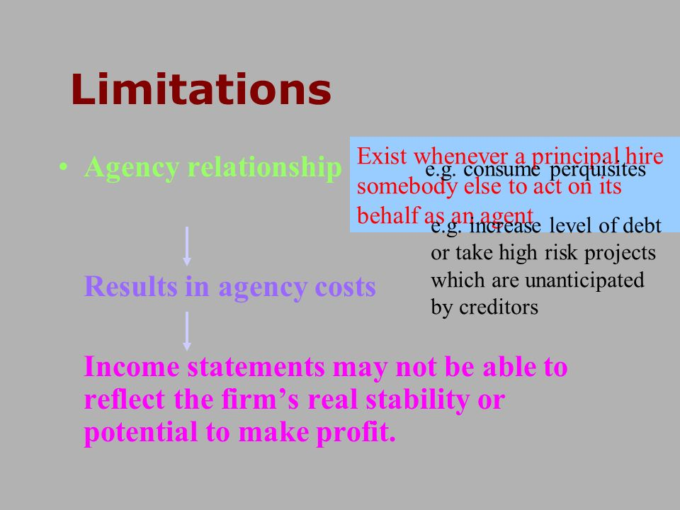 Agency relationship Results in agency costs Income statements may not be able to reflect the firms real stability or potential to make profit. Stockho