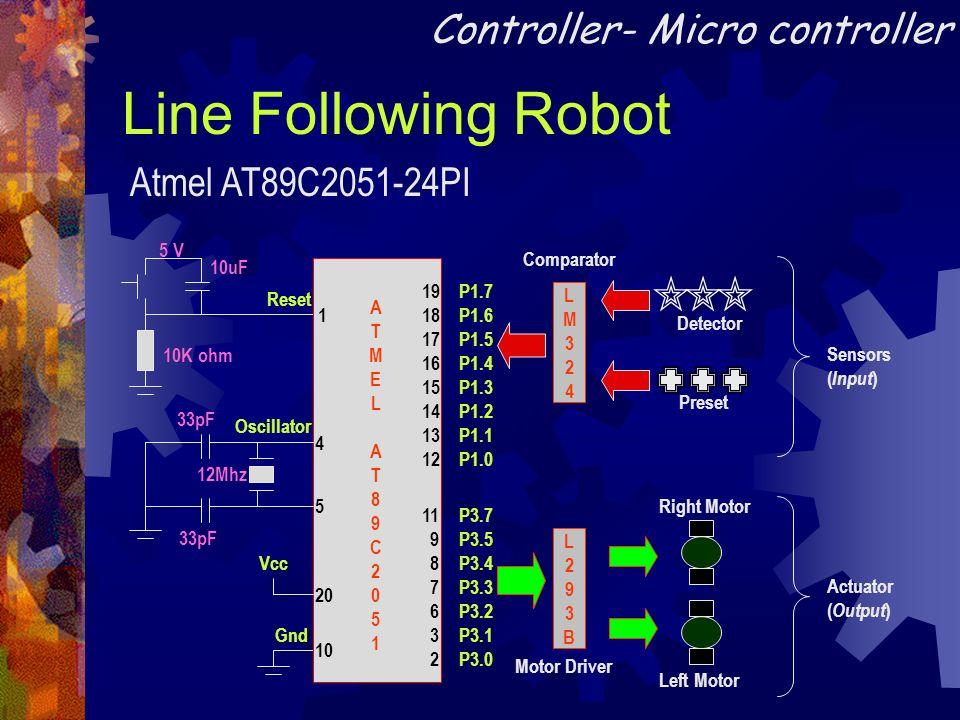 Line Following Robot Reset 10K ohm 10uF 5 V Gnd P1.7 P1.6 P1.5 P1.4 P1.3 P1.2 P1.1 P1.0 P3.7 P3.5 P3.4 P3.3 P3.2 P3.1 P3.0 1 4 5 19 18 17 16 15 14 13