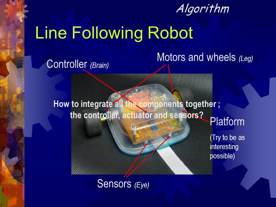 Line Following Robot Motors and wheels (Leg) Sensors (Eye) Controller (Brain) Algorithm How to integrate all the components together ; the controller,