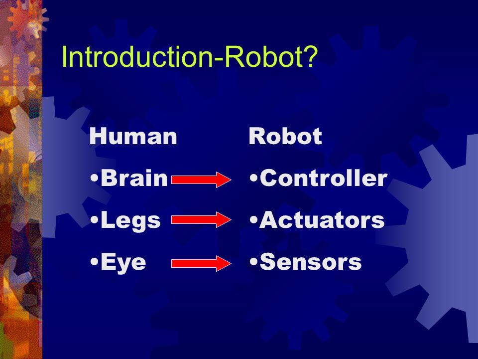 Introduction-Robot? Human Brain Legs Eye Robot Controller Actuators Sensors