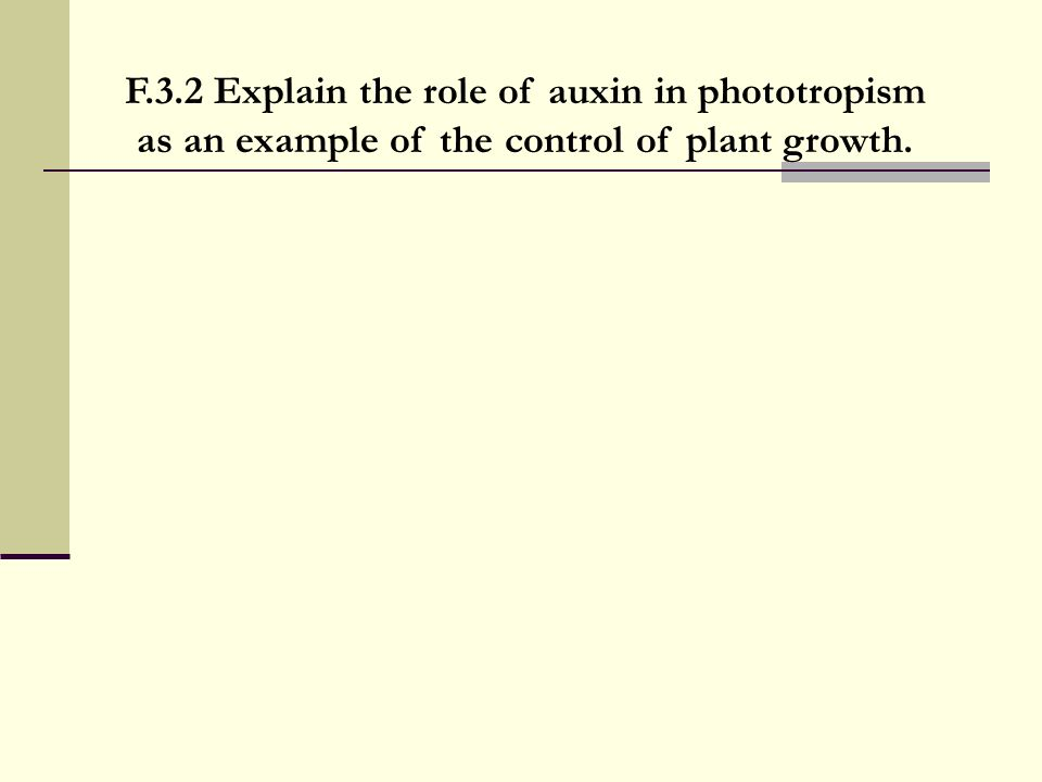 F.3.2 Explain the role of auxin in phototropism as an example of the control of plant growth.