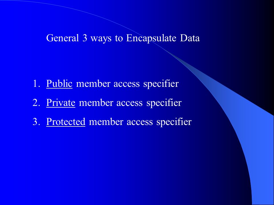 General 3 ways to Encapsulate Data 1.Public member access specifier 2.Private member access specifier 3.Protected member access specifier