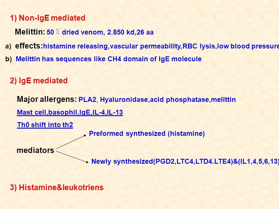 1) Non-IgE mediated dried venom, 2.850 kd,26 aa٪ Melittin: 50 a) effects: histamine releasing,vascular permeability,RBC lysis,low blood pressure b) Me