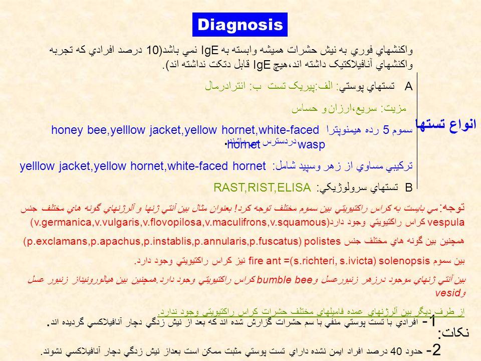 Diagnosis واکنشهاي فوري به نيش حشرات هميشه وابسته به IgE نمي باشد(10 درصد افرادي که تجربه واکنشهاي آنافيلاکتيک داشته اند،هيچ IgE قابل دتکت نداشته اند)