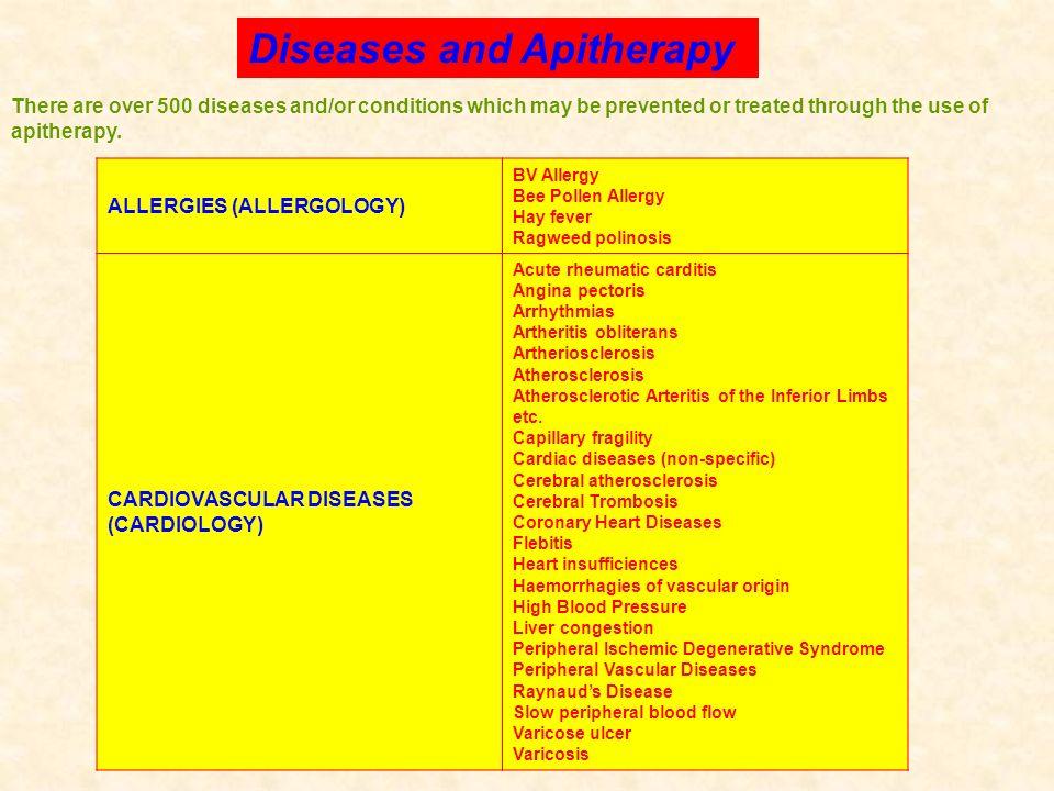 ALLERGIES (ALLERGOLOGY) BV Allergy Bee Pollen Allergy Hay fever Ragweed polinosis CARDIOVASCULAR DISEASES (CARDIOLOGY) Acute rheumatic carditis Angina