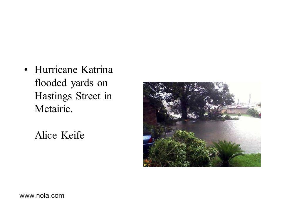 Hurricane Katrina flooded yards on Hastings Street in Metairie. Alice Keife www.nola.com
