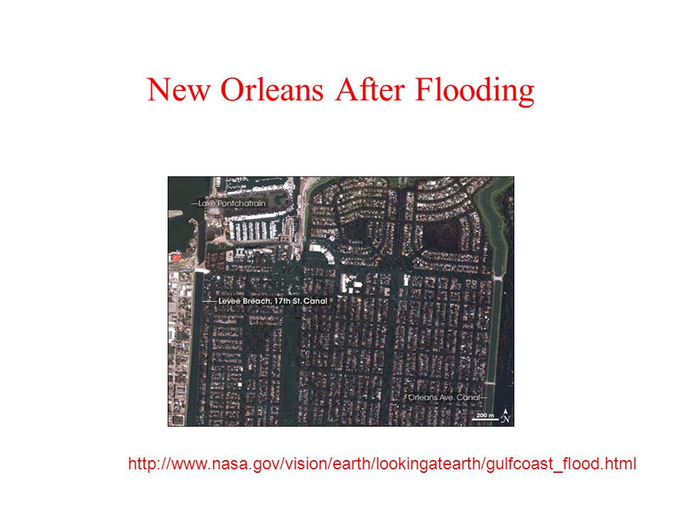 New Orleans After Flooding http://www.nasa.gov/vision/earth/lookingatearth/gulfcoast_flood.html