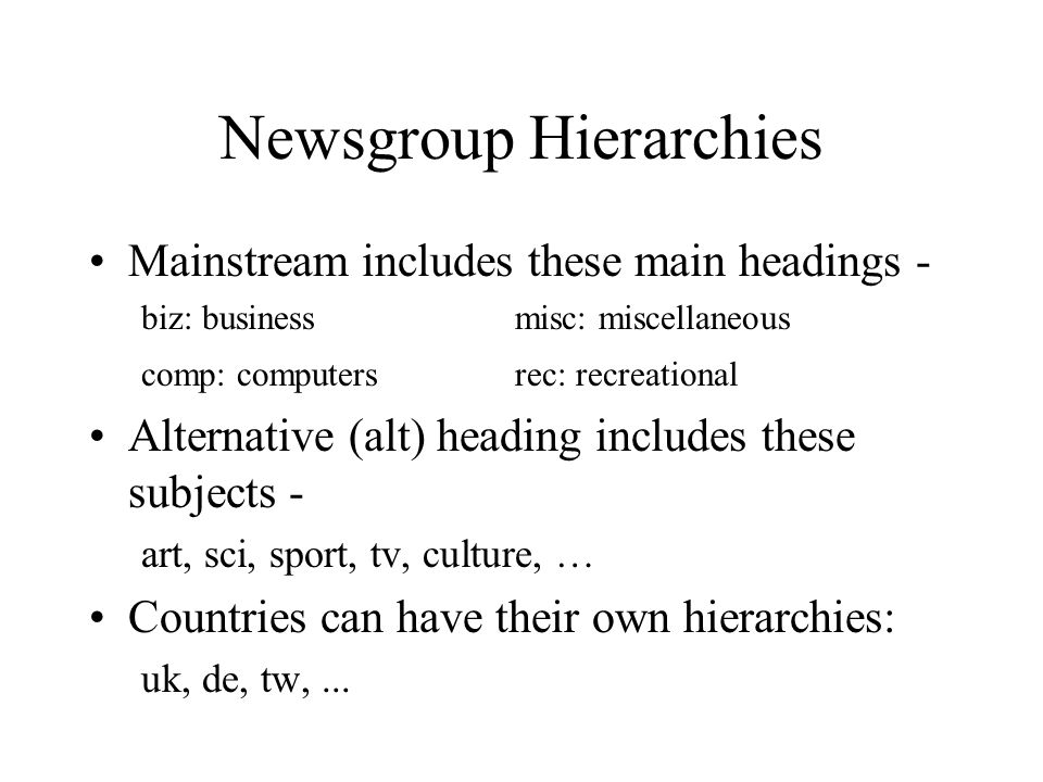 Newsgroup Naming Schemes HierarchyTopic AreaSubtopic(s) comp.os.ms-windows.games
