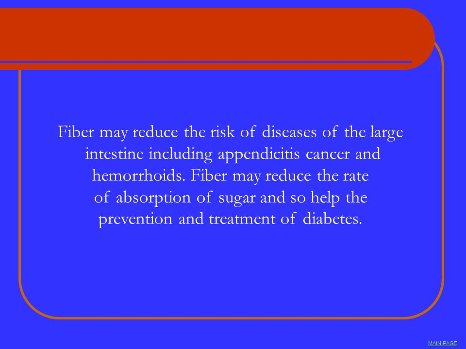 Fiber may reduce the risk of diseases of the large intestine including appendicitis cancer and hemorrhoids. Fiber may reduce the rate of absorption of