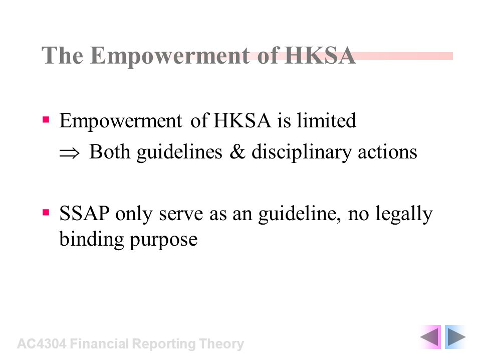 The Empowerment of HKSA Empowerment of HKSA is limited Both guidelines & disciplinary actions SSAP only serve as an guideline, no legally binding purp