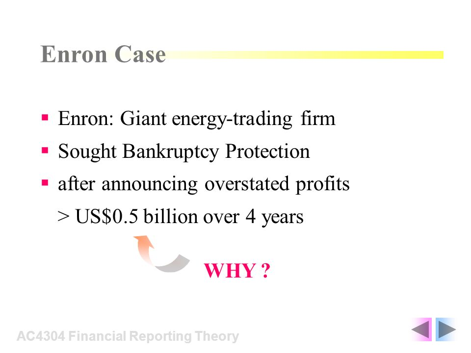 Enron Case Enron: Giant energy-trading firm Sought Bankruptcy Protection after announcing overstated profits > US$0.5 billion over 4 years AC4304 Financial Reporting Theory WHY