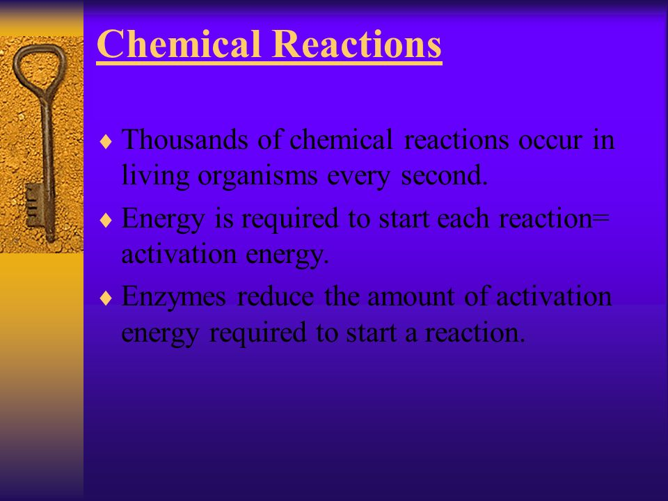 Chemical Reactions Thousands of chemical reactions occur in living organisms every second.