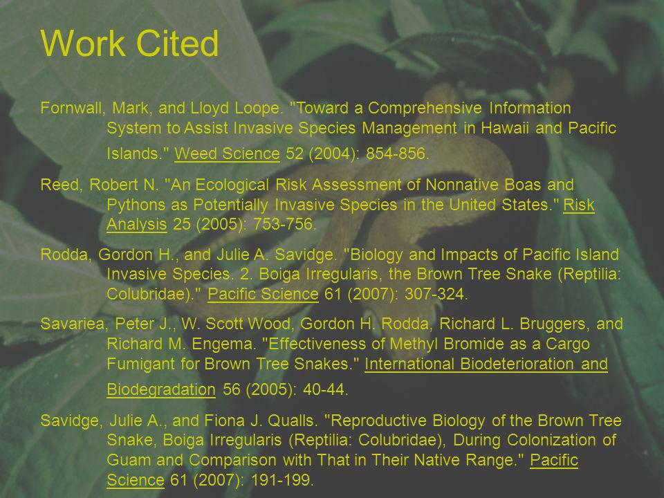 Work Cited Fornwall, Mark, and Lloyd Loope.