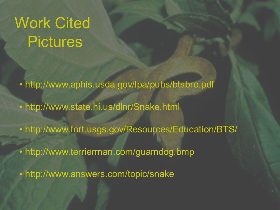 Work Cited Pictures http://www.aphis.usda.gov/lpa/pubs/btsbro.pdf http://www.state.hi.us/dlnr/Snake.html http://www.fort.usgs.gov/Resources/Education/