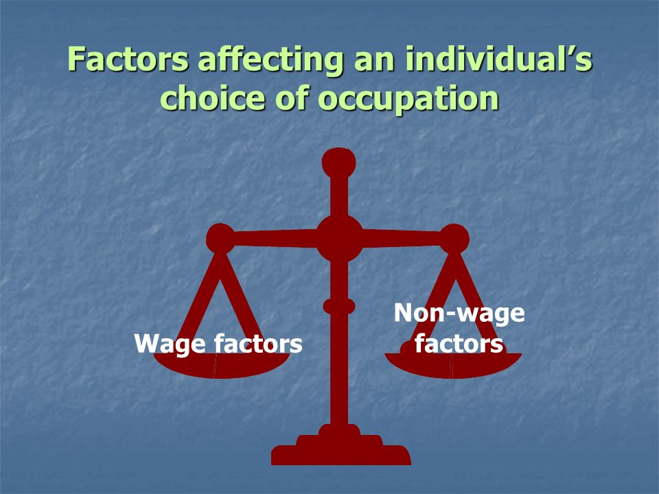 Factors affecting an individuals choice of occupation Wage factors Non-wage factors