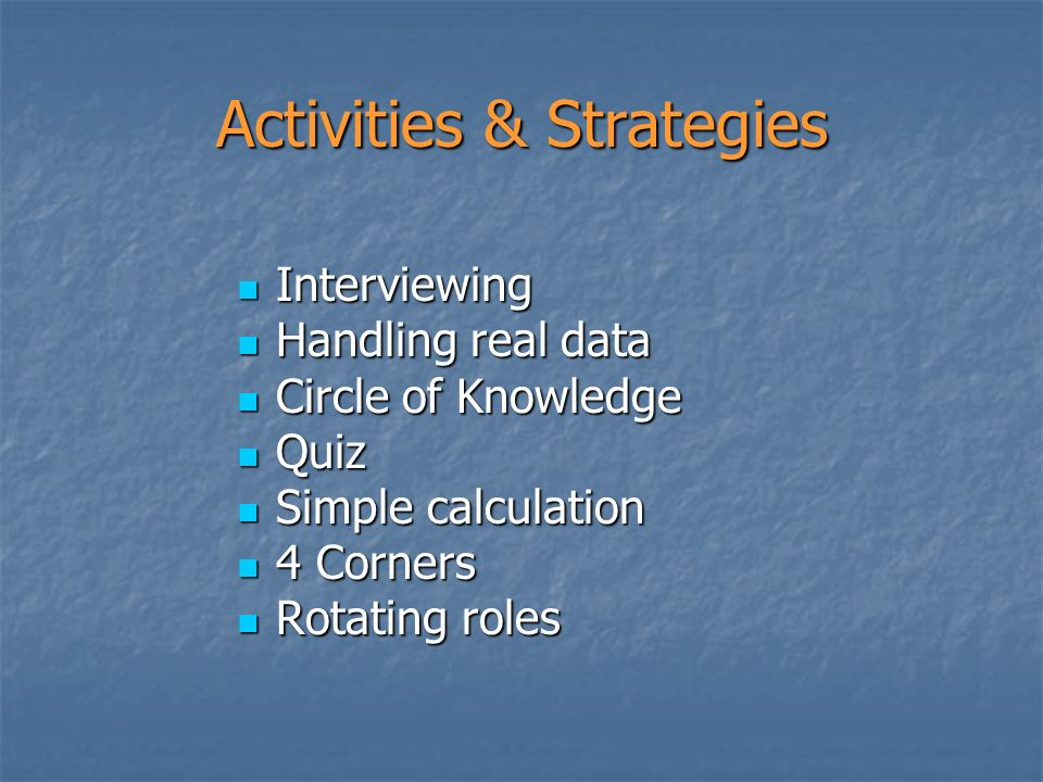 Interviewing Interviewing Handling real data Handling real data Circle of Knowledge Circle of Knowledge Quiz Quiz Simple calculation Simple calculatio