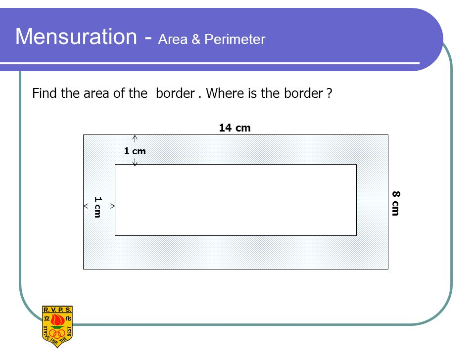 Mensuration - Area & Perimeter 14 cm 8 cm 1 cm Find the area of the border. Where is the border ?