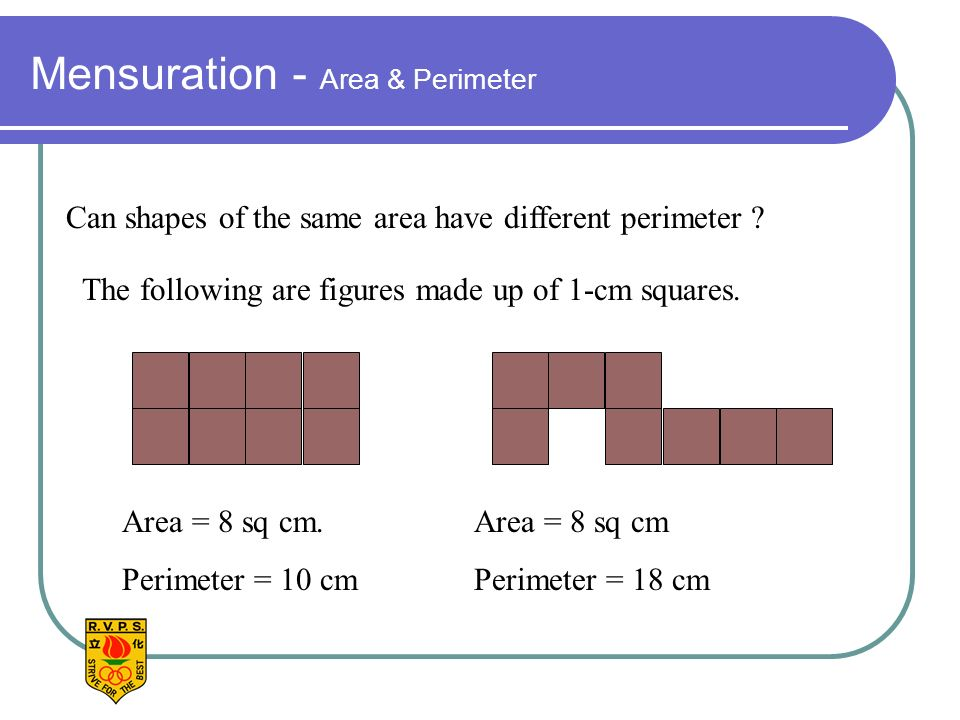 Mensuration - Area & Perimeter Can shapes of the same area have different perimeter .