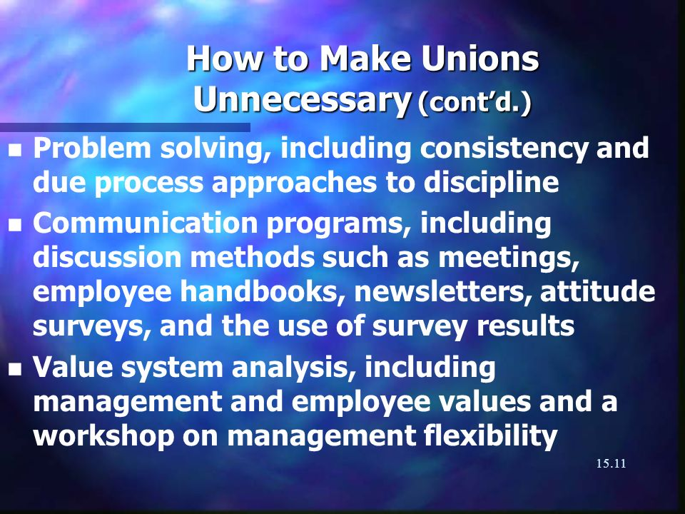 15.11 How to Make Unions Unnecessary (contd.) n n Problem solving, including consistency and due process approaches to discipline n n Communication pr