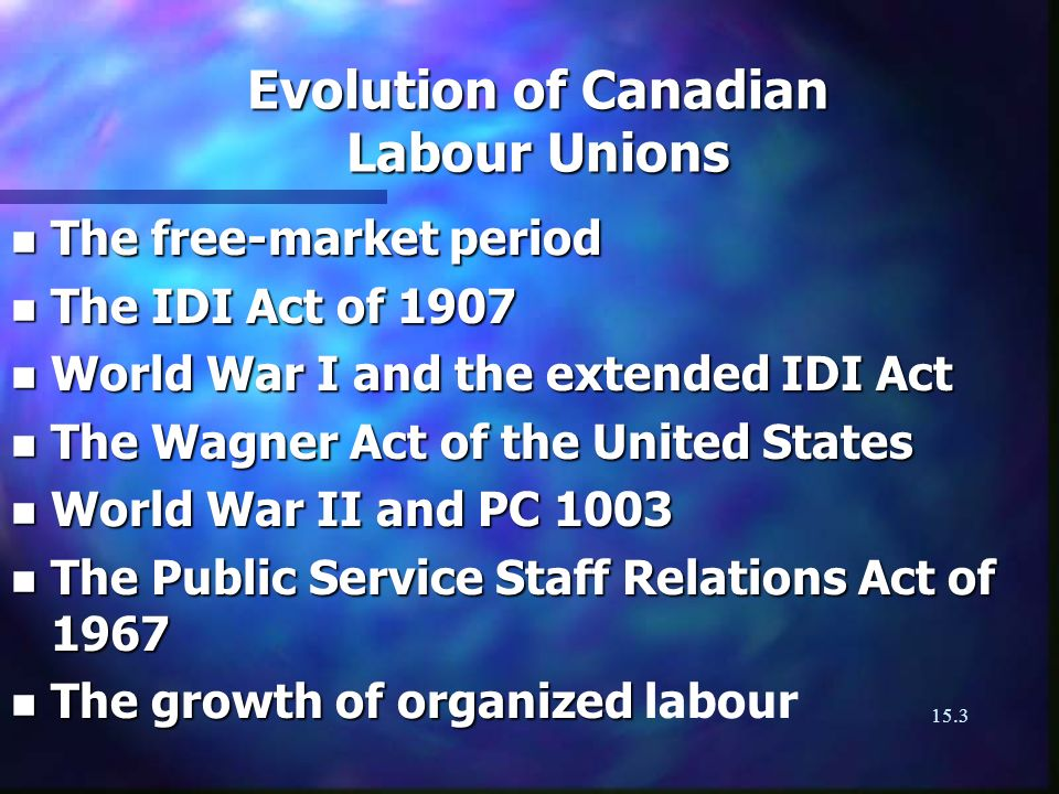 15.3 Evolution of Canadian Labour Unions n The free-market period n The IDI Act of 1907 n World War I and the extended IDI Act n The Wagner Act of the