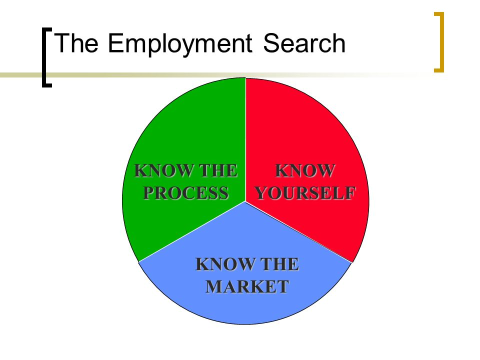 The Employment Search KNOW THE PROCESSKNOWYOURSELF MARKET