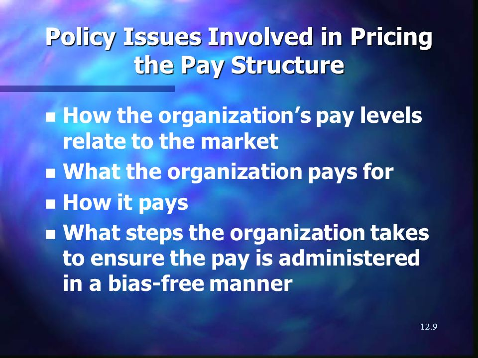 12.9 Policy Issues Involved in Pricing the Pay Structure n n How the organizations pay levels relate to the market n n What the organization pays for