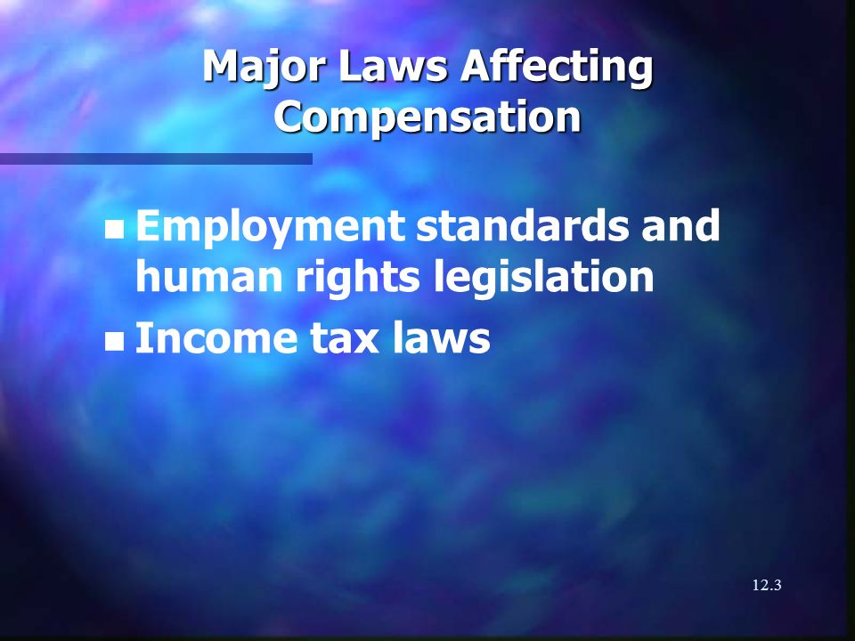 12.3 Major Laws Affecting Compensation n n Employment standards and human rights legislation n n Income tax laws