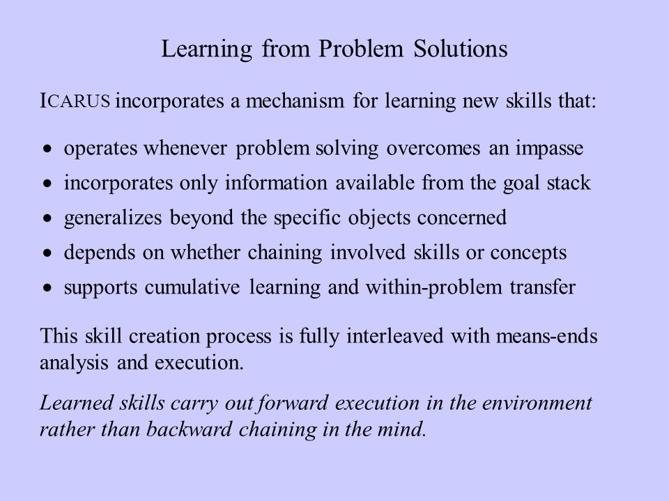 Learning from Problem Solutions operates whenever problem solving overcomes an impasse incorporates only information available from the goal stack generalizes beyond the specific objects concerned depends on whether chaining involved skills or concepts supports cumulative learning and within-problem transfer I CARUS incorporates a mechanism for learning new skills that: This skill creation process is fully interleaved with means-ends analysis and execution.