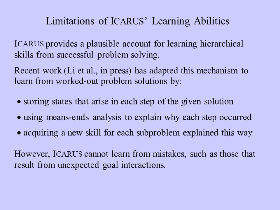 Limitations of I CARUS Learning Abilities storing states that arise in each step of the given solution using means-ends analysis to explain why each step occurred acquiring a new skill for each subproblem explained this way I CARUS provides a plausible account for learning hierarchical skills from successful problem solving.