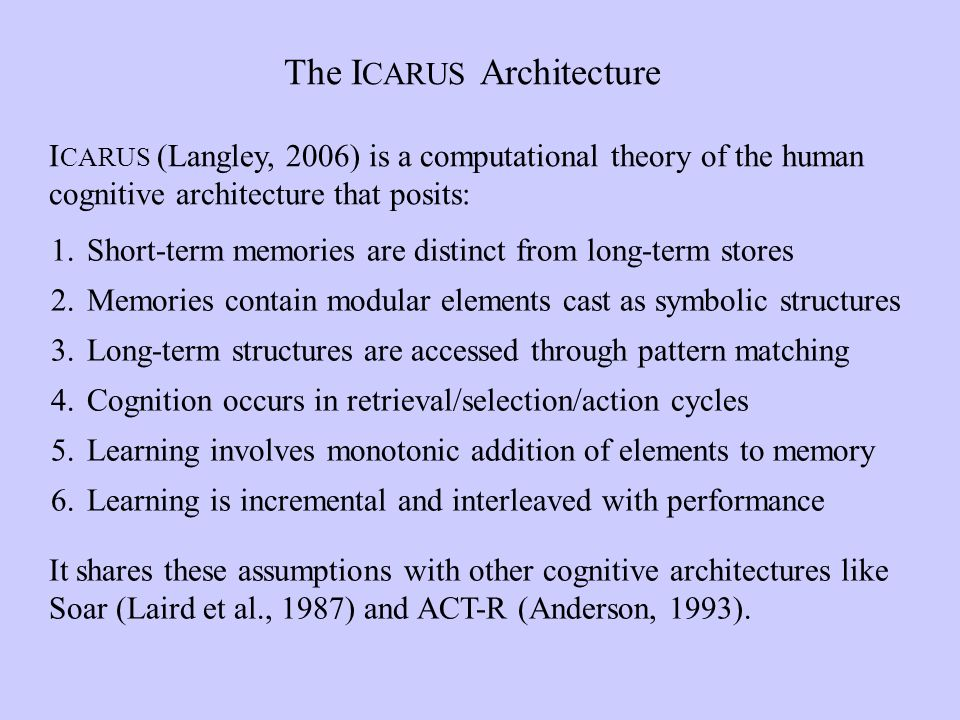 The I CARUS Architecture I CARUS (Langley, 2006) is a computational theory of the human cognitive architecture that posits: It shares these assumptions with other cognitive architectures like Soar (Laird et al., 1987) and ACT-R (Anderson, 1993).