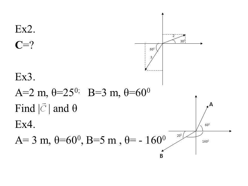 Ex2. C=? Ex3. A=2 m, θ=25 0; B=3 m, θ=60 0 Find     and θ Ex4. A= 3 m, θ=60 0, B=5 m, θ= - 160 0 30 0 60 0 2 3 160 0 20 0 A B