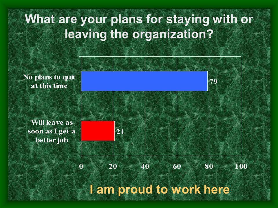 What are your plans for staying with or leaving the organization? I am proud to work here
