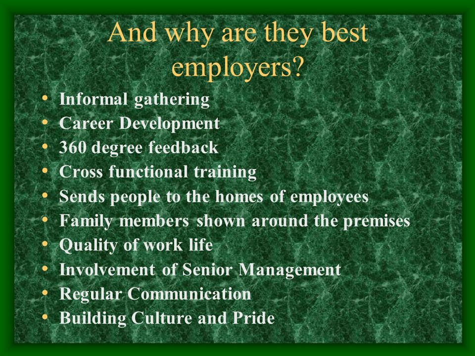 And why are they best employers.