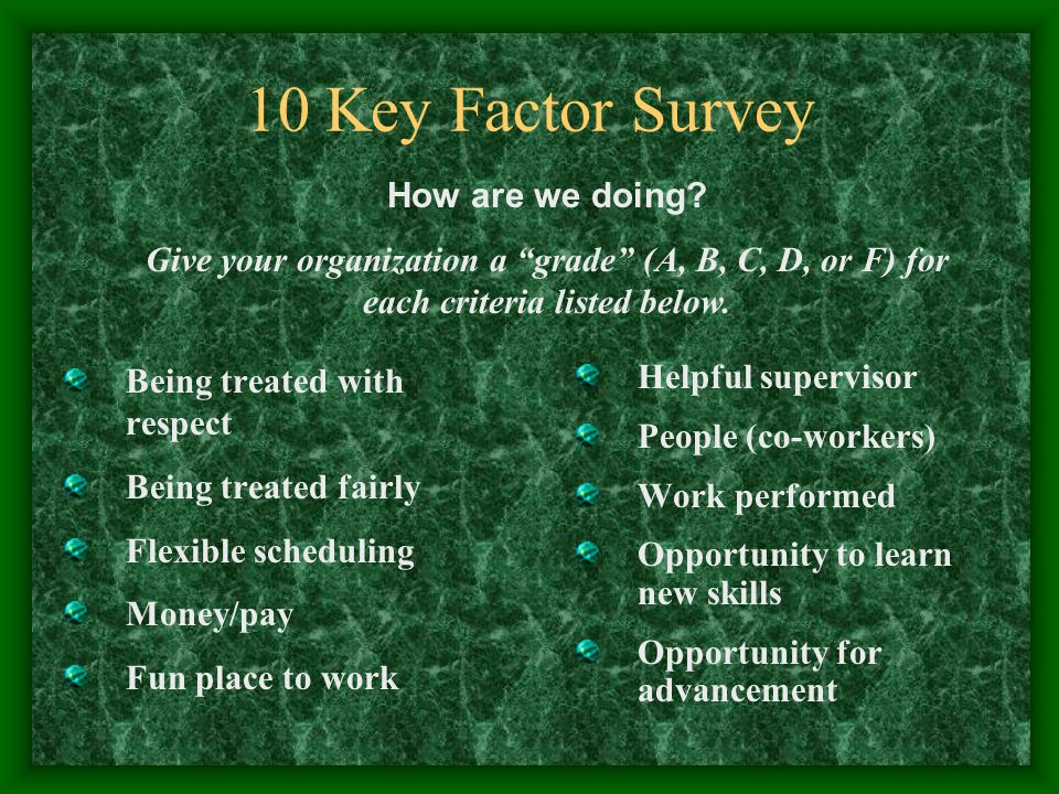 10 Key Factor Survey Being treated with respect Being treated fairly Flexible scheduling Money/pay Fun place to work Helpful supervisor People (co-workers) Work performed Opportunity to learn new skills Opportunity for advancement How are we doing.