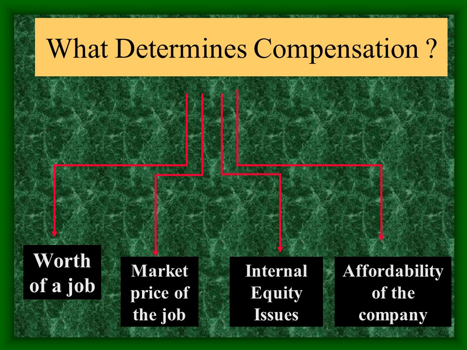 What Determines Compensation ? Worth of a job Market price of the job Internal Equity Issues Affordability of the company