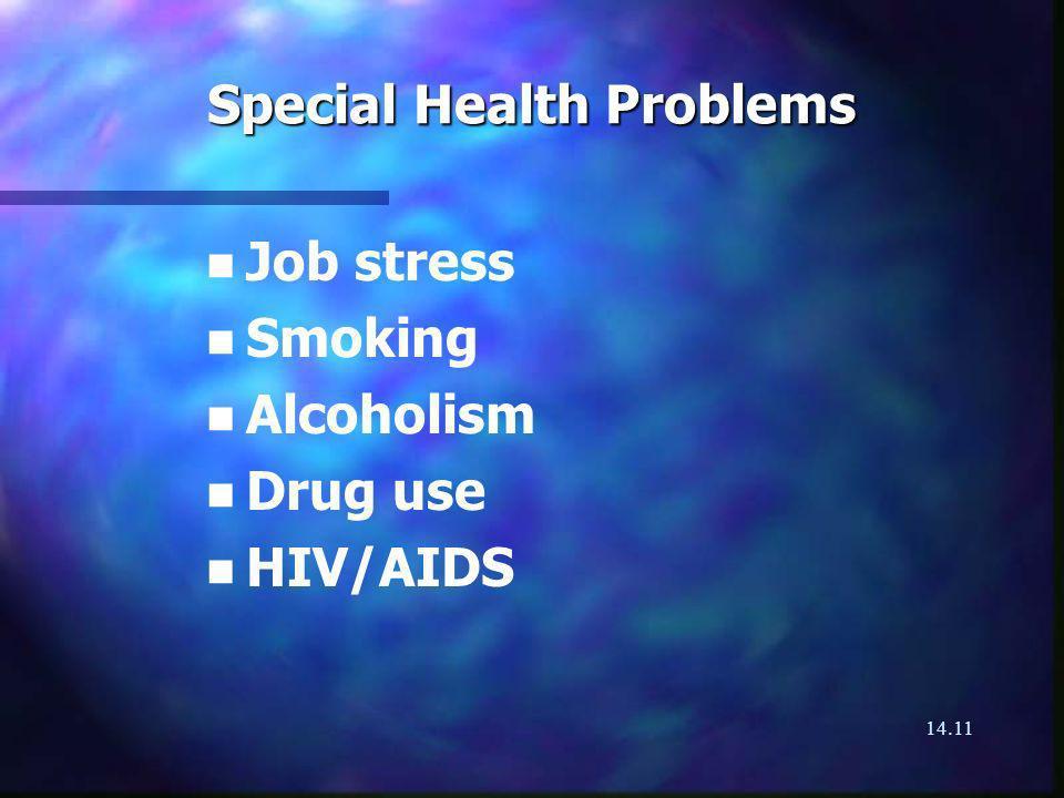14.11 Special Health Problems n n Job stress n n Smoking n n Alcoholism n n Drug use n n HIV/AIDS