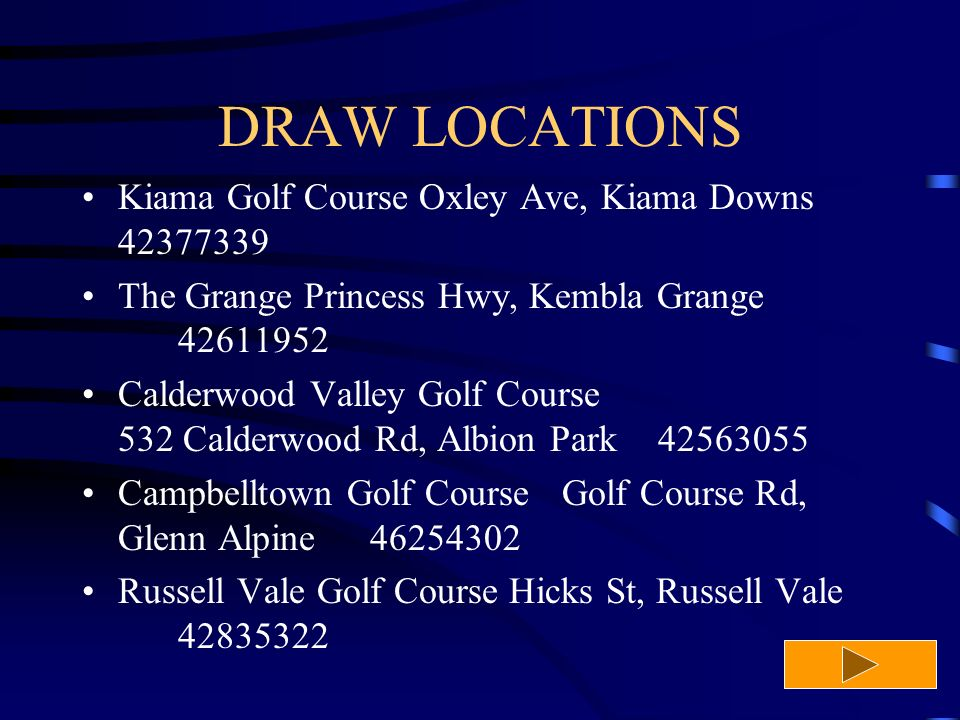DRAW LOCATIONS Kiama Golf Course Oxley Ave, Kiama Downs 42377339 The Grange Princess Hwy, Kembla Grange 42611952 Calderwood Valley Golf Course 532 Calderwood Rd, Albion Park42563055 Campbelltown Golf CourseGolf Course Rd, Glenn Alpine 46254302 Russell Vale Golf Course Hicks St, Russell Vale 42835322