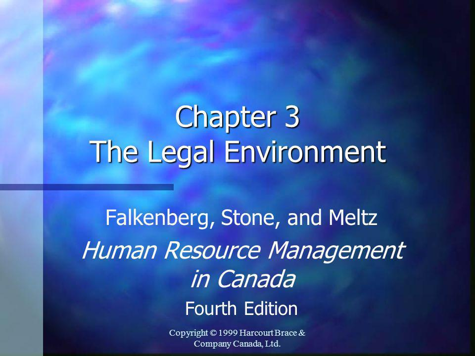 Copyright © 1999 Harcourt Brace & Company Canada, Ltd. Chapter 3 The Legal Environment Falkenberg, Stone, and Meltz Human Resource Management in Canad