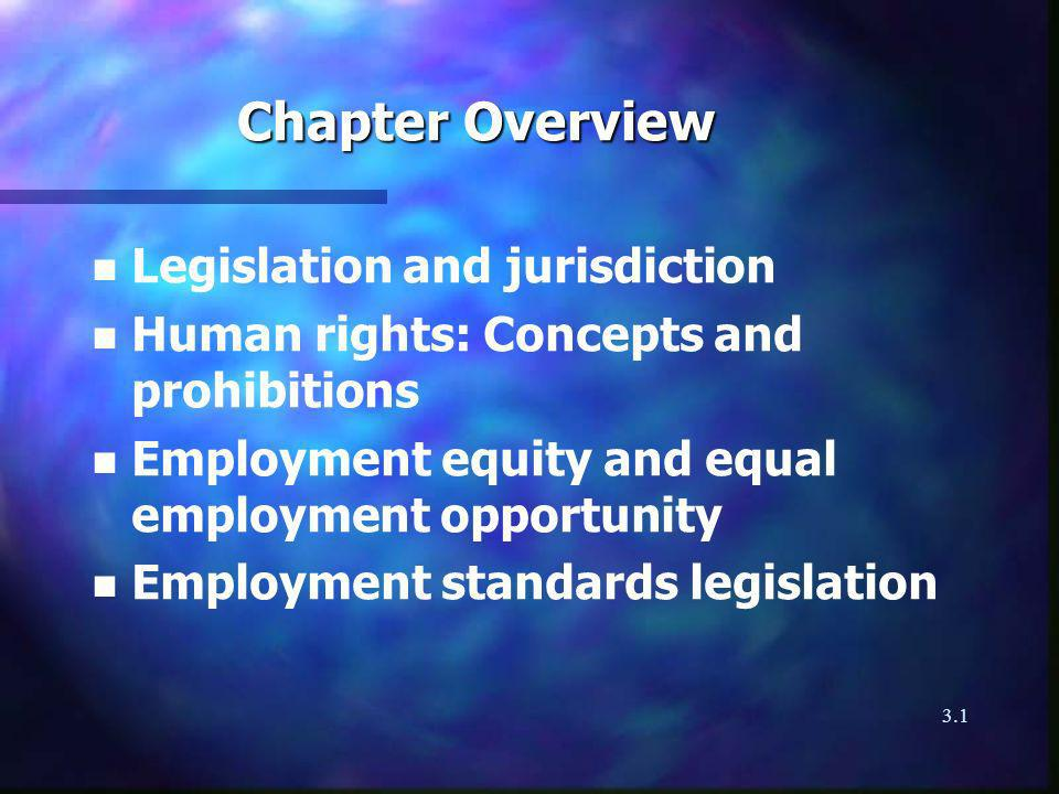 3.1 Chapter Overview n Legislation and jurisdiction n Human rights: Concepts and prohibitions n Employment equity and equal employment opportunity n Employment standards legislation