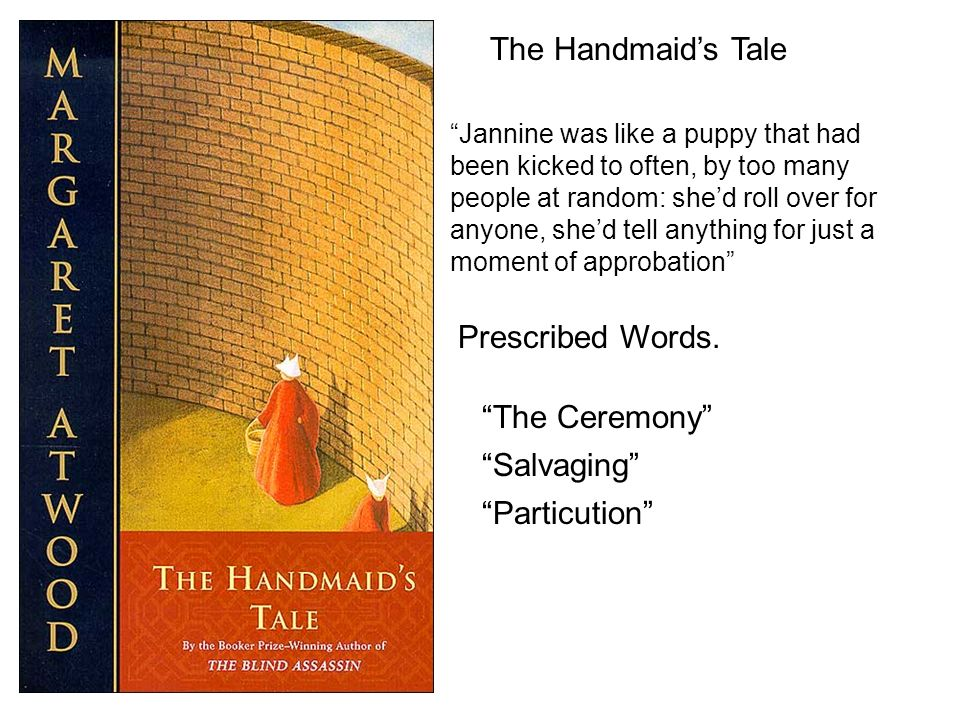 The Handmaids Tale Jannine was like a puppy that had been kicked to often, by too many people at random: shed roll over for anyone, shed tell anything for just a moment of approbation Prescribed Words.