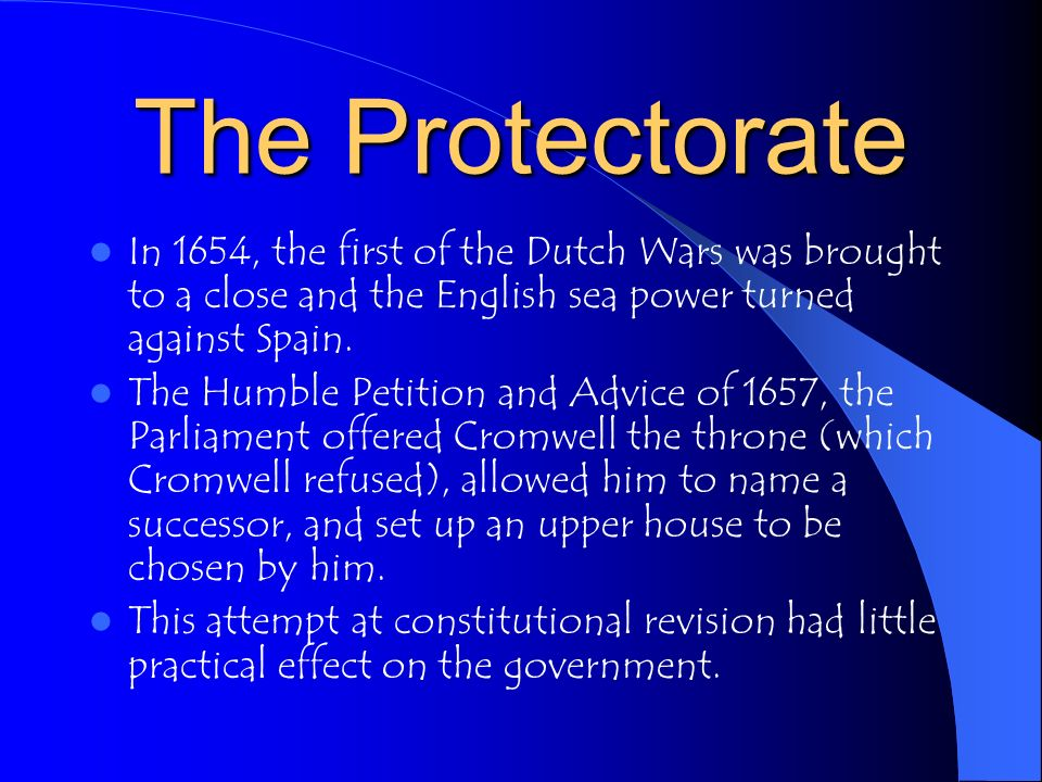 The Protectorate After a royalist uprising in 1655, Cromwell divied the country into 11 military districts, each under the administration of a major general who enforced the laws and collected the taxes.