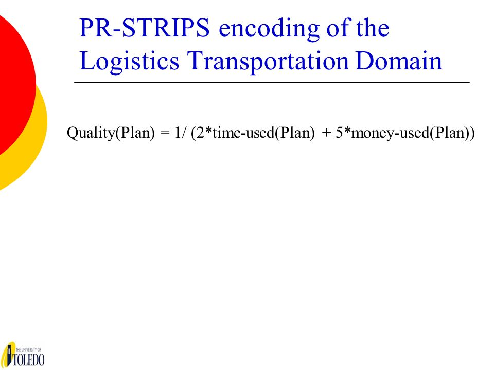PR-STRIPS encoding of the Logistics Transportation Domain Quality(Plan) = 1/ (2*time-used(Plan) + 5*money-used(Plan))