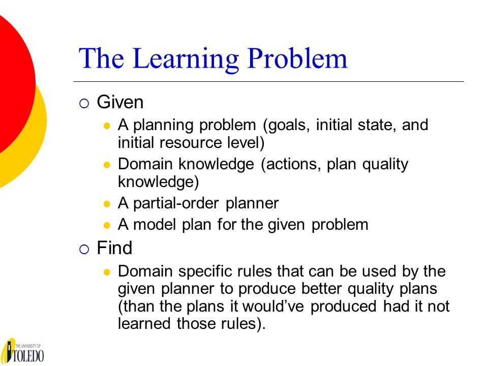 The Learning Problem Given A planning problem (goals, initial state, and initial resource level) Domain knowledge (actions, plan quality knowledge) A