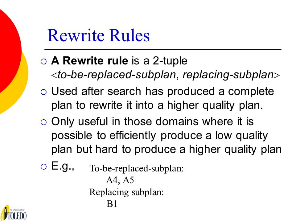 Rewrite Rules A Rewrite rule is a 2-tuple to-be-replaced-subplan, replacing-subplan Used after search has produced a complete plan to rewrite it into a higher quality plan.