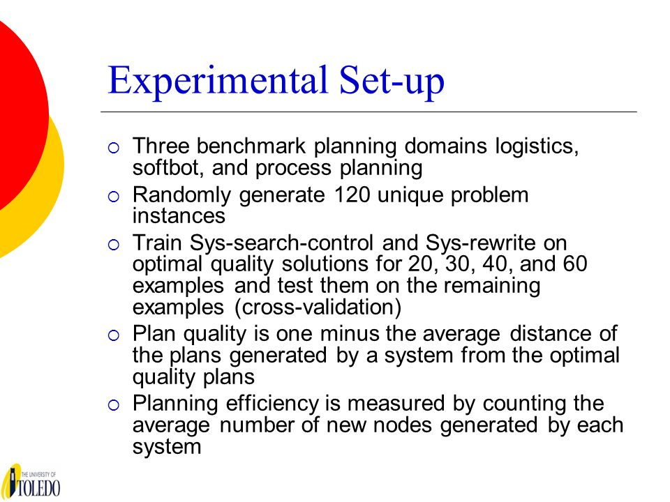 Experimental Set-up Three benchmark planning domains logistics, softbot, and process planning Randomly generate 120 unique problem instances Train Sys-search-control and Sys-rewrite on optimal quality solutions for 20, 30, 40, and 60 examples and test them on the remaining examples (cross-validation) Plan quality is one minus the average distance of the plans generated by a system from the optimal quality plans Planning efficiency is measured by counting the average number of new nodes generated by each system