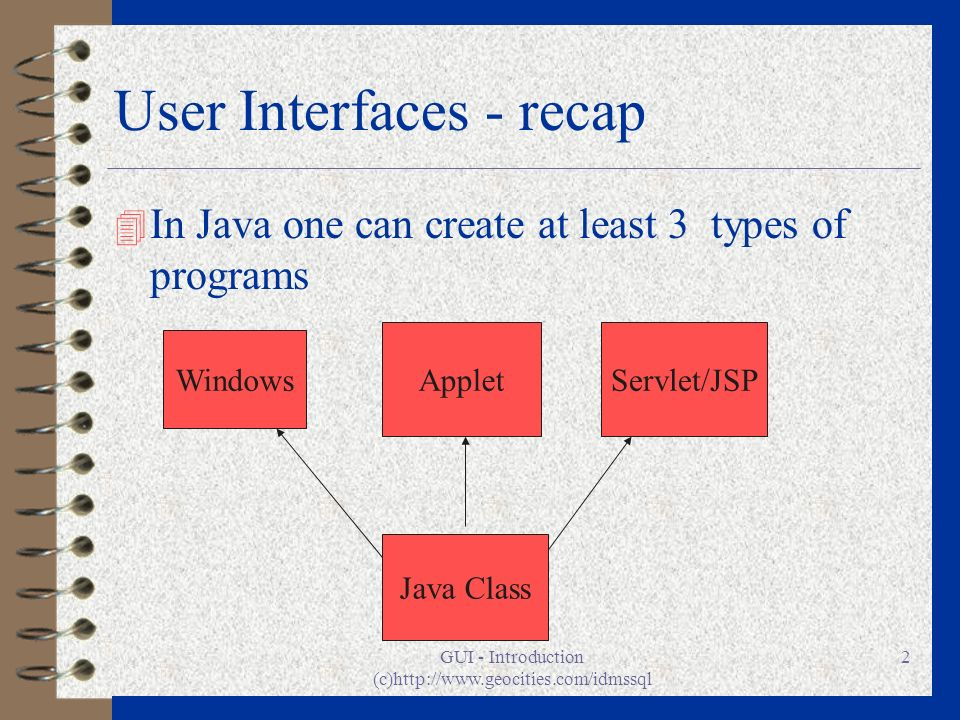 GUI - Introduction (c)http://www.geocities.com/idmssql 2 User Interfaces - recap 4 In Java one can create at least 3 types of programs Windows AppletS