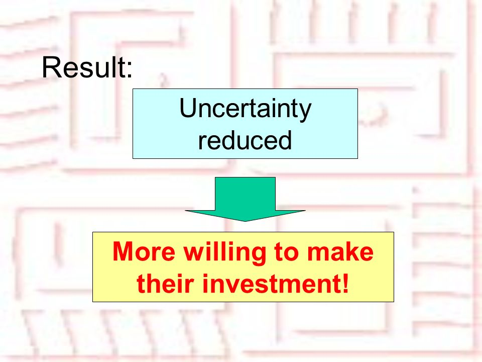 Result: Uncertainty reduced More willing to make their investment!