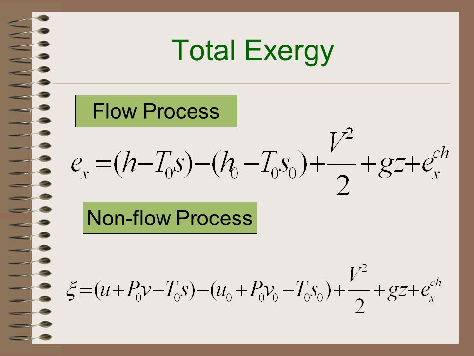 Total Exergy Flow Process Non-flow Process