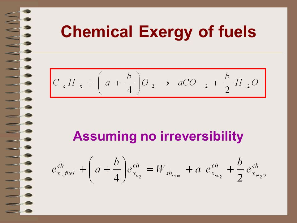 Chemical Exergy of fuels Assuming no irreversibility